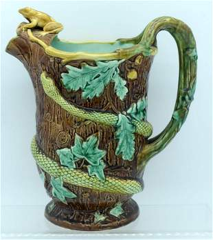 A 19TH CENTURY ENGLISH MAJOLICA POTTERY JUG by Samuel