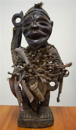 A RARE LARGE EARLY 20TH CENTURY AFRICAN TRIBAL BAKONGO