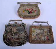 THREE CONTINENTAL VINTAGE NEEDLEPOINT PURSES one with