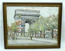Jean Dorville (1902-1985) Oil on card Arc de Triomphe