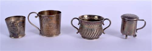 THREE MINIATURE ANTIQUE SILVER CUPS and another.