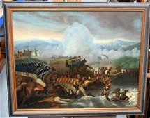 European School (19th Century) Oil on canvas, Battle