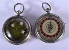 TWO VINTAGE ROULETTE DICE FAUX POCKET WATCHES. 4.5 cm