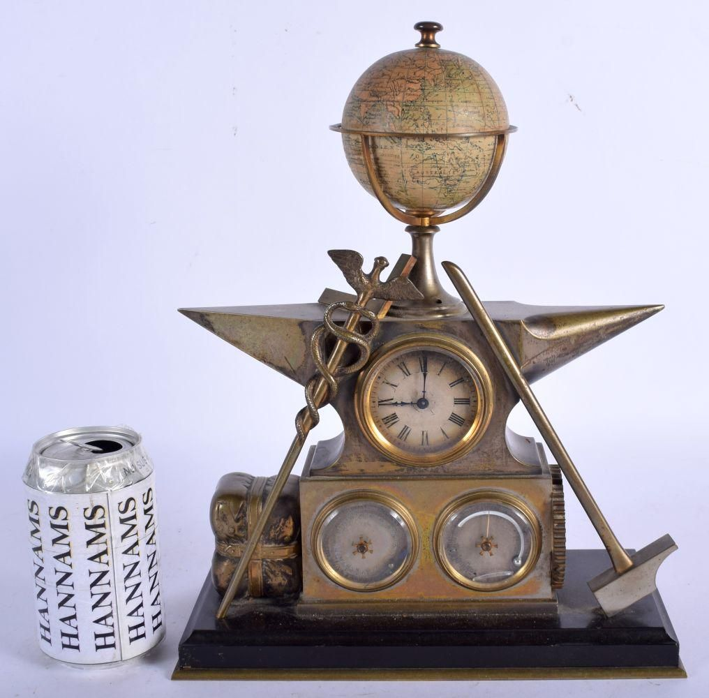 A RARE 19TH CENTURY FRENCH INDUSTRIAL BRONZE CLOCK