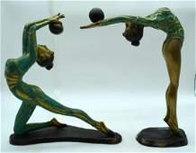 Two Bronze Art Deco style female acrobat figures 37cm