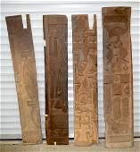 Four African Tribal Yoruba wood relief panels 174 x