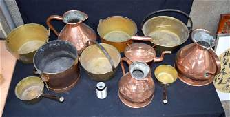 A vintage collection of large Copper and brass kitchen