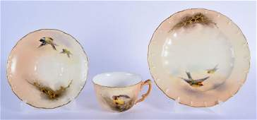 Royal Worcester teacup, saucer and side plate painted