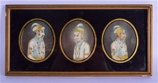 A SET OF THREE 19TH CENTURY INDIAN PAINTED IVORY