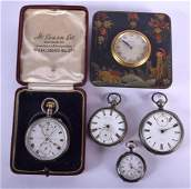 FOUR ANTIQUE SILVER POCKET AND FOB WATCHES and a strut