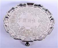 A MID 19TH CENTURY ENGLISH SILVER SALVER engraved with
