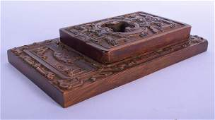 A RARE EARLY 20TH CENTURY CHINESE CARVED HARDWOOD INK