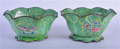 A PAIR OF EARLY 20TH CENTURY CHINESE CANTON ENAMEL