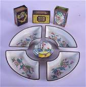A SET OF FOUR 19TH CENTURY CHINESE CANTON ENAMEL DISHES