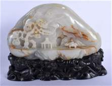 A LARGE EARLY 20TH CENTURY CHINESE CARVED GREYISH JADE