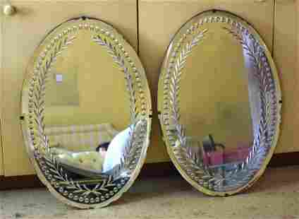 A PAIR OF ANTIQUE CUT GLASS MIRRORS possibly George III