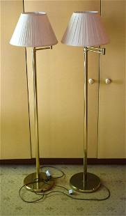 A PAIR OF ART DECO STYLE BRASS SWIVEL TOP LAMPS. 144 cm