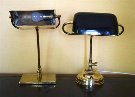 A BRASS ANGLEPOISE LAMP together with another. 40 cm