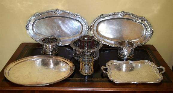 THREE LARGE 19TH CENTURY OLD SHEFFIELD PLATED TABLE