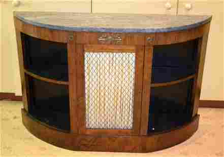 A REGENCY ROSEWOOD BOW FRONTED SIDEBOARD with marble