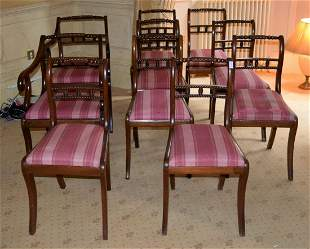 A SET OF TEN ANTIQUE MAHOGANY DINING CHAIRS with
