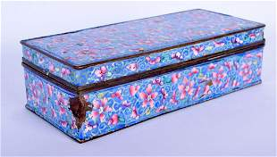 A 19TH CENTURY CHINESE CANTON ENAMEL BOX AND COVER