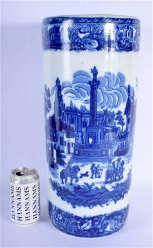 A CONTEMPORARY BLUE AND WHITE PORCELAIN STICK STAND