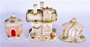THREE ANTIQUE STAFFORDSHIRE POTTERY HOUSES one in the