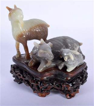 A FINE EARLY 20TH CENTURY CHINESE CARVED THREE COLOUR