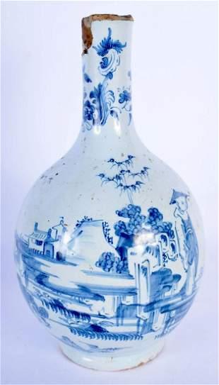 A RARE 17TH CENTURY ENGLISH DELFT BLUE AND WHITE TIN