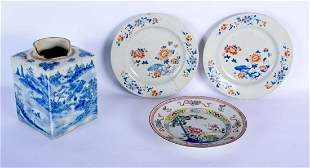THREE 18TH CENTURY CHINESE EXPORT PORCELAIN PLATES