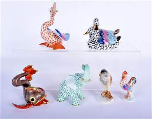 SIX HUNGARIAN HEREND PORCELAIN FIGURES in various forms