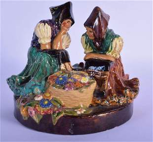 AN UNUSUAL ANTIQUE EASTERN EUROPEAN POTTERY GROUP OF