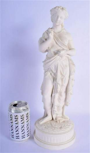 A LARGE 19TH CENTURY FRENCH PARIAN WARE FIGURE OF A