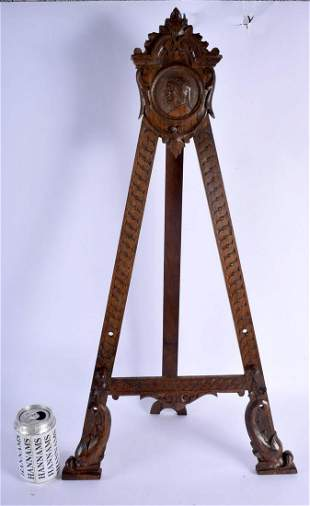 A LARGE 19TH CENTURY ARTS AND CRAFTS OAK STRUT EASEL
