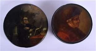 TWO EARLY 19TH CENTURY EUROPEAN PAPIER MACHE BLACK