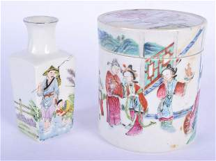 AN 18TH/19TH CENTURY CHINESE FAMILLE ROSE JAR AND COVER