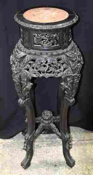A 19TH CENTURY CHINESE MARBLE INSET PEDESTAL STAND