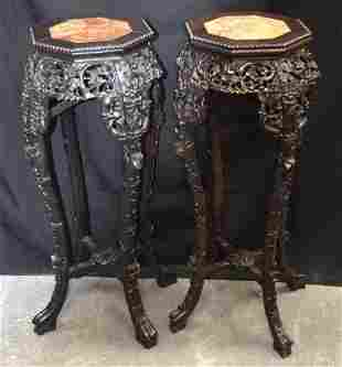 A PAIR OF 19TH CENTURY CHINESE CARVED HARDWOOD MARBLE