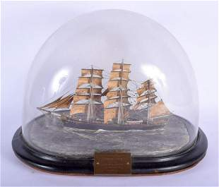 AN ANTIQUE SCOTTISH MODEL OF THE CUTTY SARK. 32 cm x 32