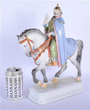 A LARGE HUNGARIAN HEREND PORCELAIN FIGURE OF A MALE
