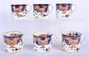 SIX EARLY 19TH CENTURY DERBY IMARI PORCELAIN CUPS. 8 cm