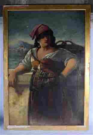Italian School (19th Century) Gypsy Girl, Oil on
