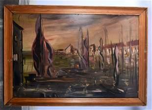 European School (20th Century) Oil on board, Abstract.