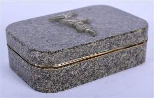 A RARE 18TH/19TH CENTURY EUROPEAN PORPHYRY SNUFF BOX
