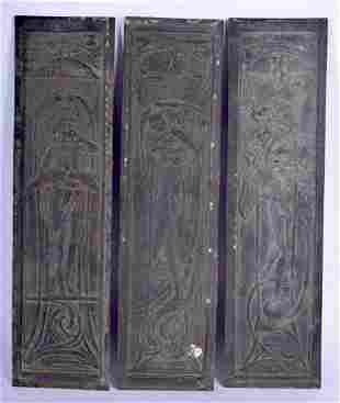 THREE ART DECO BRONZE PLAQUES. 32 cm x 8 cm. (3)