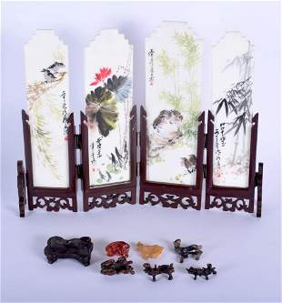 A CHINESE CARVED AND PAINTED MARBLE SCHOLARS SCREEN