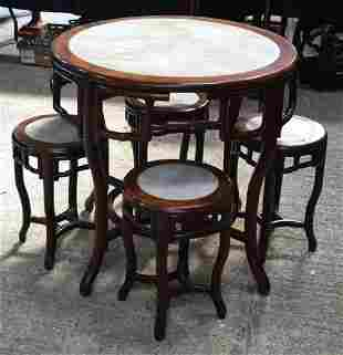 A RARE 19TH CENTURY CHINESE CARVED HARDWOOD MARBLE