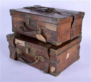 TWO ANTIQUE LEATHER CARTRIDGE CARRIERS. Largest 43 cm x