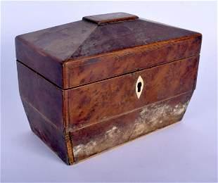A GEORGE III BURR WALNUT TEA CADDY. 18 cm x 12 cm.